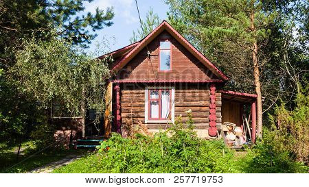 Rural Log House In Green Garden On Sunny Summer Day In Tver Region Of Russia
