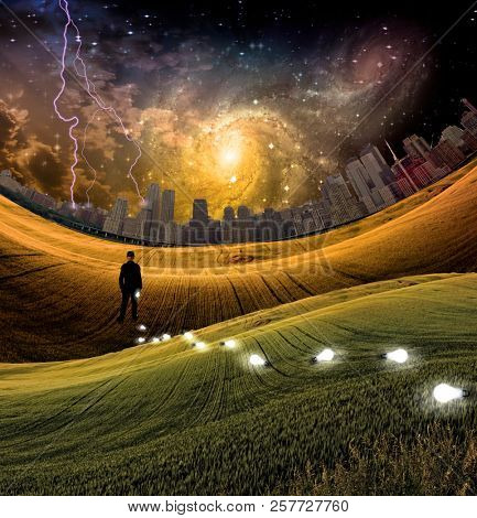 Man in surreal landscape. Light bulbs symbolizes ideas. Metropolis at the horizon. Vivid starry sky with galaxy. 3D rendering poster
