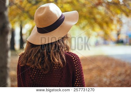 Rear View Of Brunette Girl In Autumn Fall Park In Brown Hat, Sweater And Trousers. Back View Of Autu