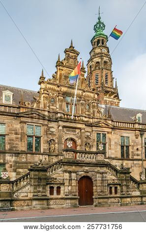 Stadhuis (city Hall) Is 16th Century Building In Leiden, Netherlands