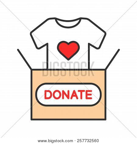 Clothes Donating Color Icon. Donation Box With T-shirt. Used Clothes. Charity. Isolated Vector Illus