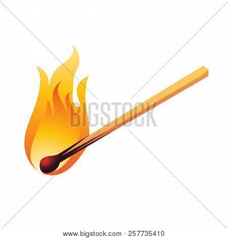 Burning Match Isolated On White Background. Cartoon Vector Illustration Close-up.