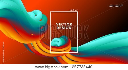 3d Abstract Flow Poster. Wave Liquid Shapes. Vector Illustration Eps10. Modern Colorful Background.