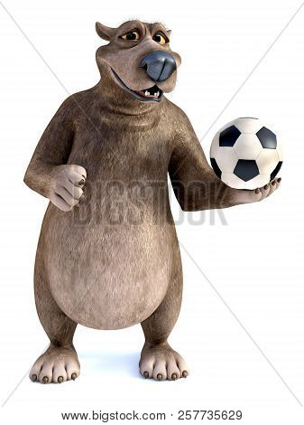 3d Rendering Of A Charming Smiling Cartoon Bear Posing With A Soccer Ball In His Hand. White Backgro