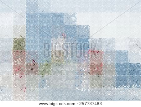 Watercolor Geometric Pattern In Blue. Seamless Abstract Background. Appropriate To Winter And Christ