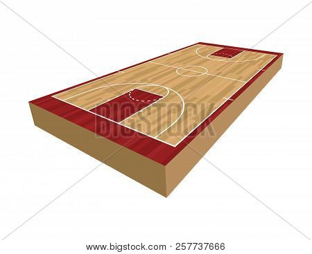 A Realistic 3d Basketball Court Isolated On A White Background Illustration. Vector Eps 10 Available