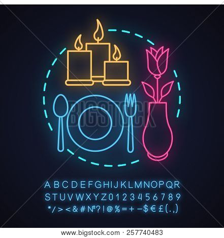 Cafe Or Restaurant Date Neon Light Concept Icon. Romantic Supper Idea. Special Occasion. Glowing Sig