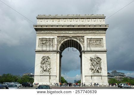 Paris, France-jul 23, 2018: Arc De Triomphe In Paris, One Of The Most Famous Monuments. The Monument
