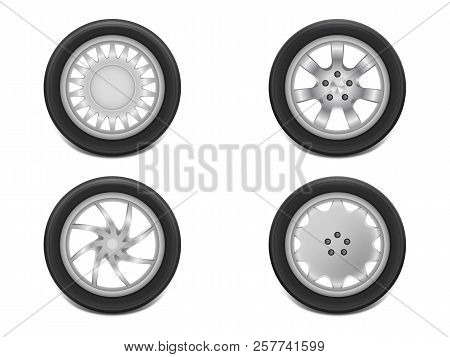 Vector 3d Realistic Black Tires In Side View, Shining Steel And Rubber Wheel For Car, Automobile, Is