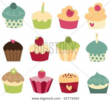 Set of 12 cute cupcakes.