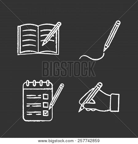 Writing With Pencil Chalk Icons Set. Copy Book, Drawing, To Do List, Hand Holding Pencil. Isolated V