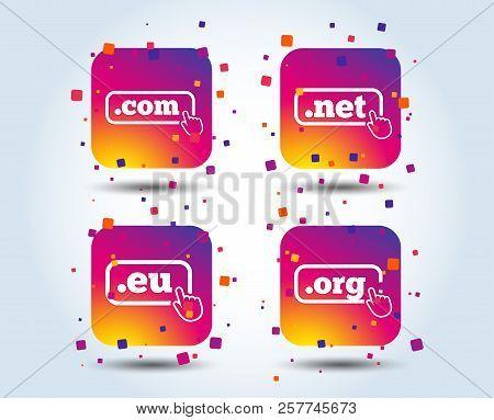 Top-level Internet Domain Icons. Com, Eu, Net And Org Symbols With Hand Pointer. Unique Dns Names. C
