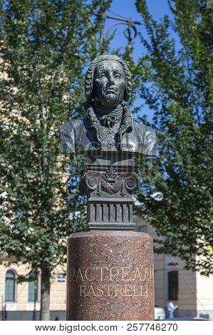 St. Petersburg, Russia - August 08, 2018: Bust Of Architect Bartolomeo Francesco Rastrelli In St. Pe