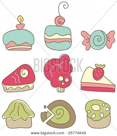 Set of cute cakes, cupcakes and sweets, vector.