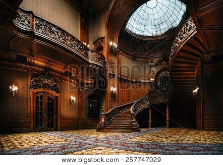 Lviv, Ukraine - 23 September, 2016: House Of Scientists. Interior Of The Magnificent Mansion With Or