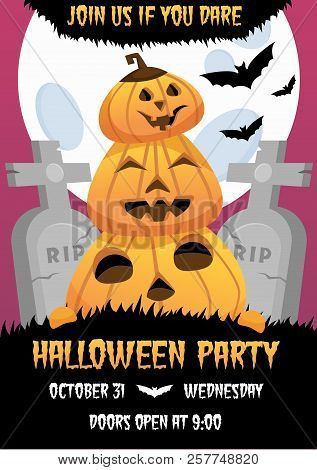 Happy Halloween Invitation Poster. Greeting Card .scary  Party Flyer. Spooky  Banner For Celebrating
