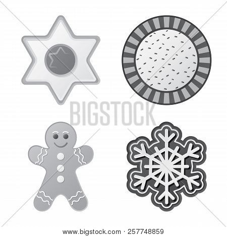 Vector Illustration Of Biscuit And Bake Sign. Collection Of Biscuit And Chocolate Stock Vector Illus
