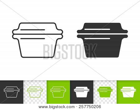 Glass Casserole Black Linear And Silhouette Icons. Thin Line Sign Of Cookware. Baking Pan Outline Pi