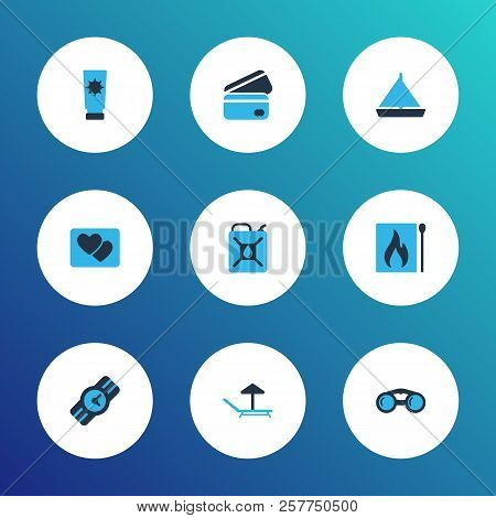 Journey Icons Colored Set With Matches, Binoculars, Credit Card And Other Payment Elements. Isolated