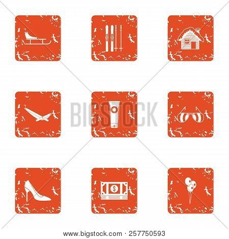 Rich Garden Icons Set. Grunge Set Of 9 Rich Garden Icons For Web Isolated On White Background
