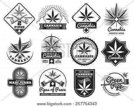 Hashish, Rastaman, Hemp, Cannabis, Marijuana Vector Logos And Labels Set Isolated On White Illustrat