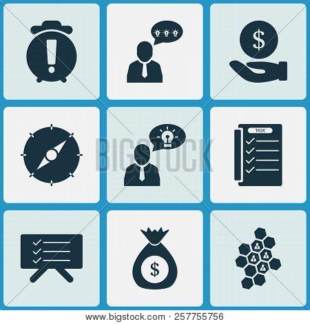 Job Icons Set With Warning Alarm, Money Sack, Team Honeycomb And Other Task Manager Elements. Isolat