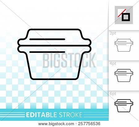 Glass Casserole Thin Line Icon. Outline Sign Of Cookware. Baking Pan Linear Pictogram With Different