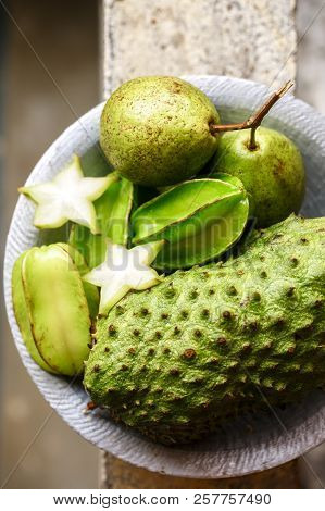Exotic Fruits On A Metal Plate, Close-up
