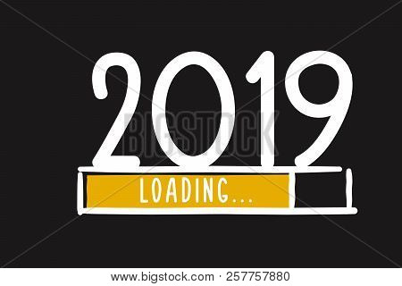 Doodle New Year Download Screen. Progress Bar Almost Reaching New Year's Eve. Vector Illustration Wi