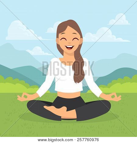 Girl Doing Yoga Meditation Isolated On White Background. Young Woman Making Meditation In Lotus Pose
