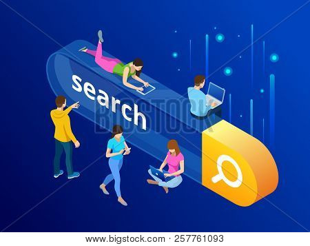 Isometric Search Bar Modern Concept. Search Engine Optimization And Web Analytics Elements. Vector I
