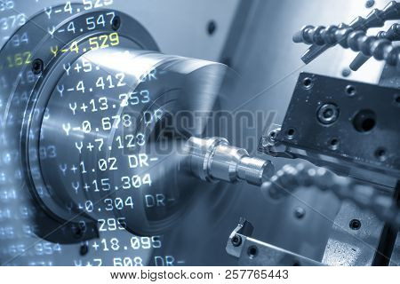 The Abstract Scene Of Cnc Lathe Machine Or Turning Machine And The Nc Data  Cutting The Thread At Th