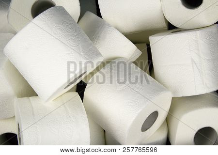 Many Rolls Of White Toilet Paper. A Matter Of Daily Necessity.detail Of Toilet Paper. Soft And Delic