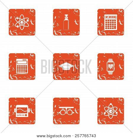 Physician Icons Set. Grunge Set Of 9 Physician Icons For Web Isolated On White Background