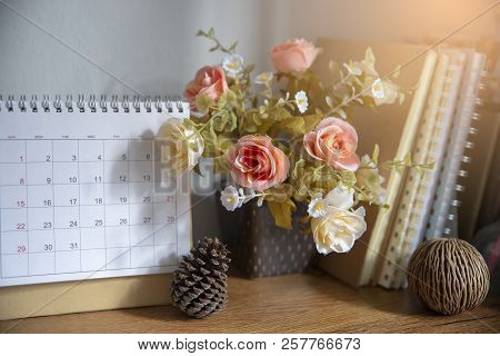 Desktop Calendar Page 2019 Place On A Wooden Office Desk.calender And Notebook For Planer Timetable,