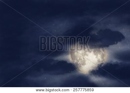 Night Cloud Sky With Moon And Stars. Beauty Nature Background. Elements Of This Image Furnished By N
