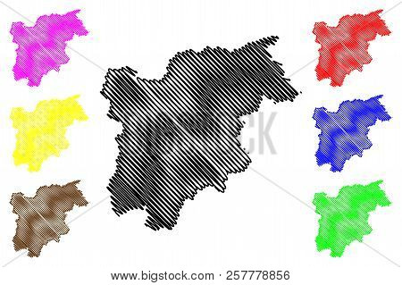 Trentino-alto Adige - Sudtirol (autonomous Region Of Italy) Map Vector Illustration, Scribble Sketch