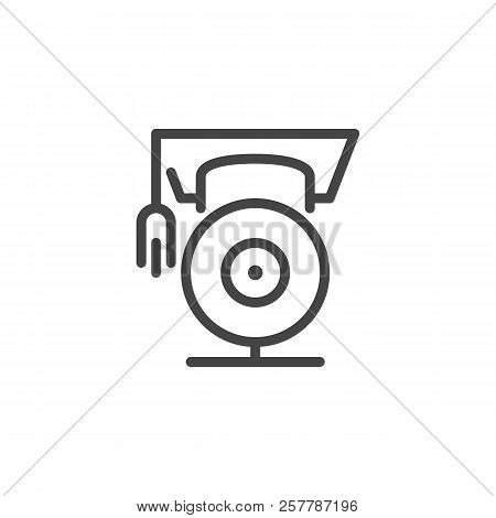 Graduates hat on webcam. Distance learning symbol. Training, tutoring, professional courses online concept pictograph. Modern technologies in education line label. Vector illustration isolated poster