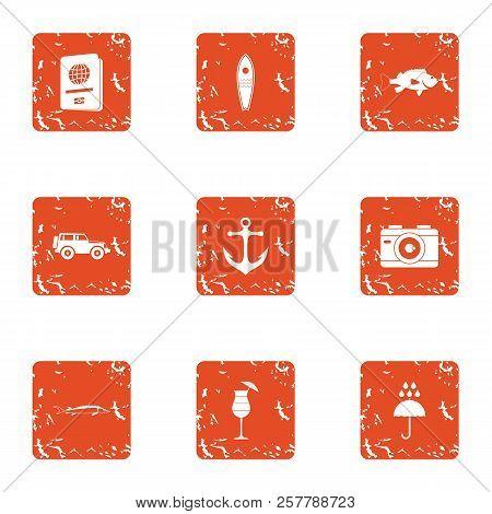 Travel Heartland Icons Set. Grunge Set Of 9 Travel Heartland Icons For Web Isolated On White Backgro