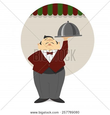 Waiter With A Dish, In A Red Frock Coat Against The Background Of An Italian Restaurant. Vector, Ill
