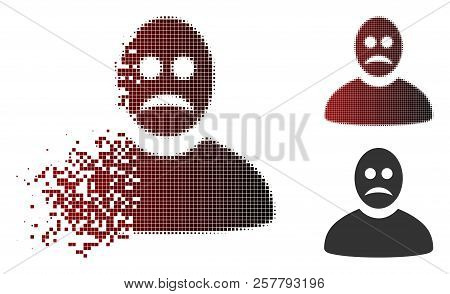 Sad Person Icon In Sparkle, Dotted Halftone And Undamaged Whole Variants. Fragments Are Grouped Into