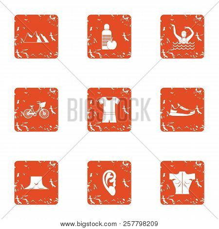 Street Occupation Icons Set. Grunge Set Of 9 Street Occupation Icons For Web Isolated On White Backg