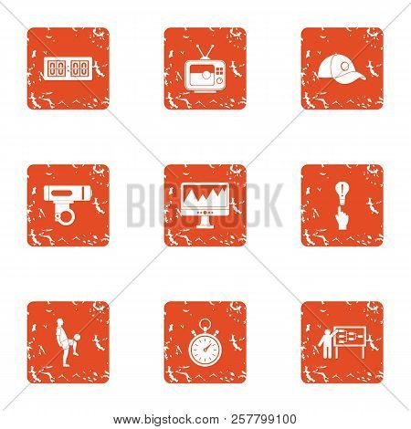 Sport Conquest Icons Set. Grunge Set Of 9 Sport Conquest Icons For Web Isolated On White Background
