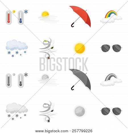 Vector Illustration Of Weather And Weather Logo. Set Of Weather And Application Stock Symbol For Web
