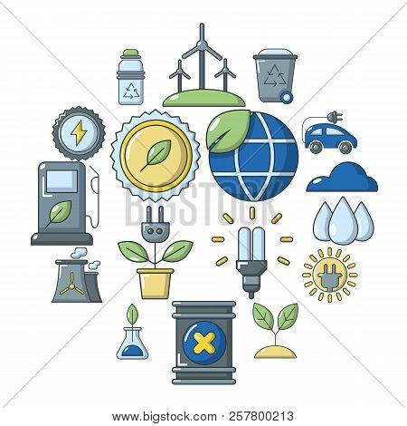Ecology Icons Set. Cartoon Illustration Of 16 Ecology Icons For Web