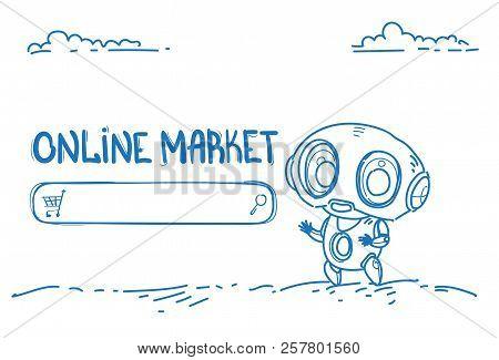 Modern Robot Online Market Website Bot Helper E-shopping Commerce Concept Artificial Intelligence Ho