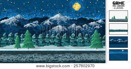 Landscape Background, Pixel Art, Digital Vintage 8-bit Game Style. Interface For The Application Or