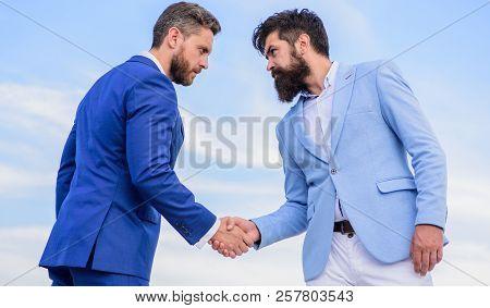 Entrepreneurs Shaking Hands Symbol Successful Deal. Business Partner Confirming Deal Transaction. Me