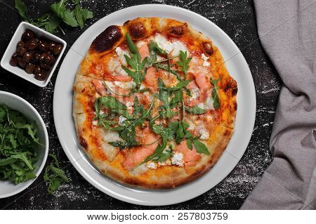 Pizza  With  Salmon, Cheese And Fresh  Arugula