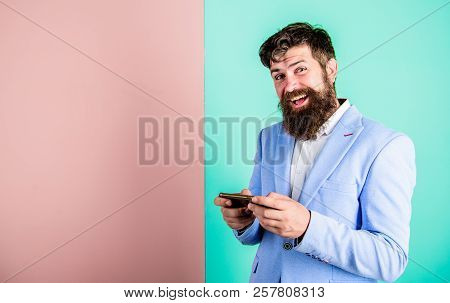 Social Media Marketing. Modern Gadget Smartphone With Online Access. Businessman Play Game. Business